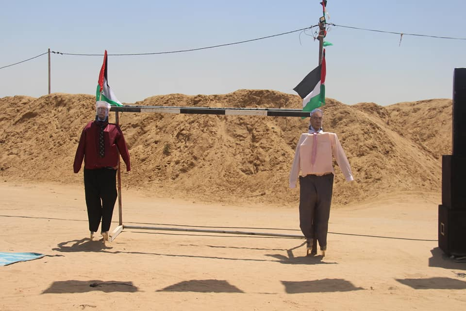 Effigies of Donald Trump and Benjamin Netanyahu, in preparation for Nakba Day events.