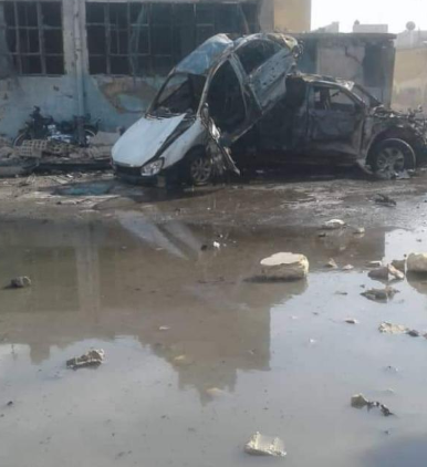 Scene of the car bomb explosion at the SDF security building in central Manbij (Orient News, May 16, 2019)