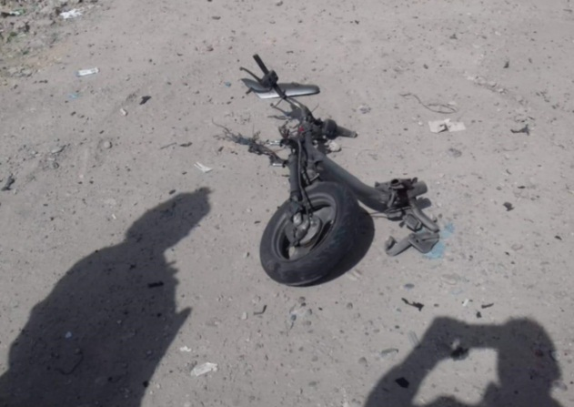 Wreckage of a motorcycle bomb detonated in the western part of Mosul.