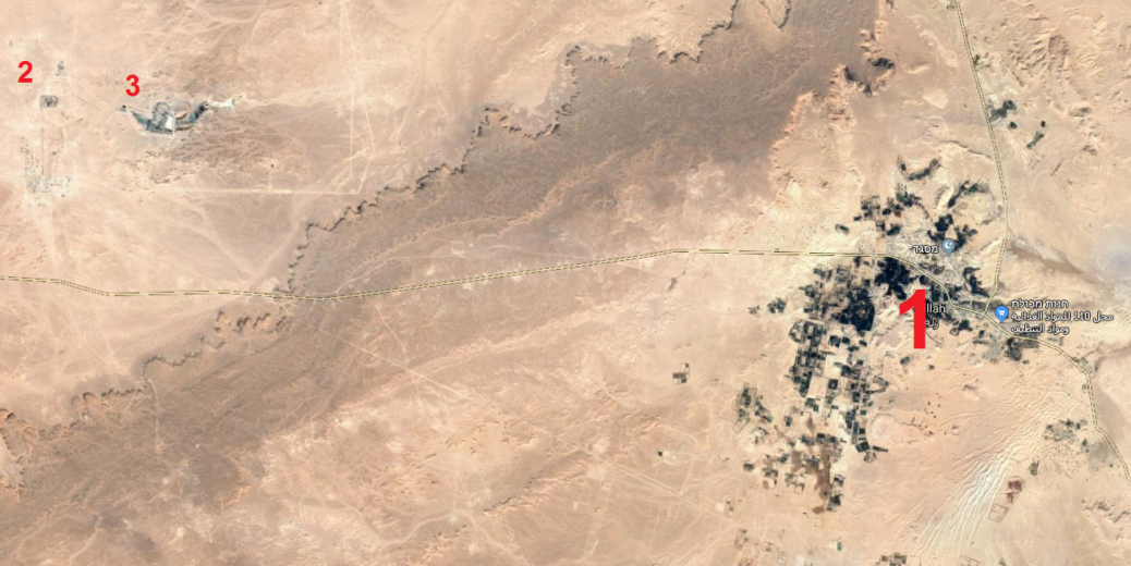 The town of Zillah (1), the oil facility northwest of the town (2), and an oil well near the oil facility (3) (Google Maps)