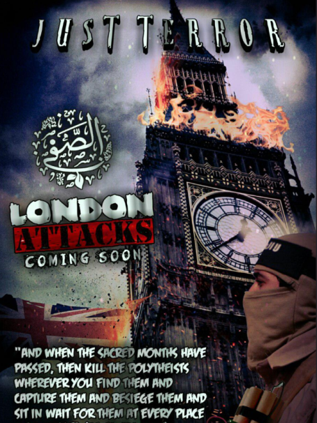 "Poster in English stating that the attacks in London are ""coming soon"" (Telegram, May 21, 2019)."
