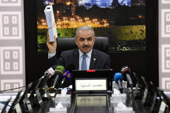 "The government meeting in Ramallah where Muhammad Shtayyeh presents his ""100 days' program"" for Palestinian economic development (Wafa, May 20, 2019)."