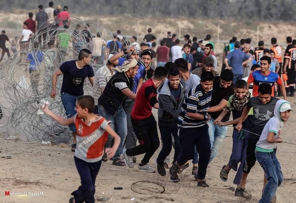 Rioters pull at the barbed wire fence near the border in eastern Rafah (Palestine Post Facebook page, May 24, 2019).