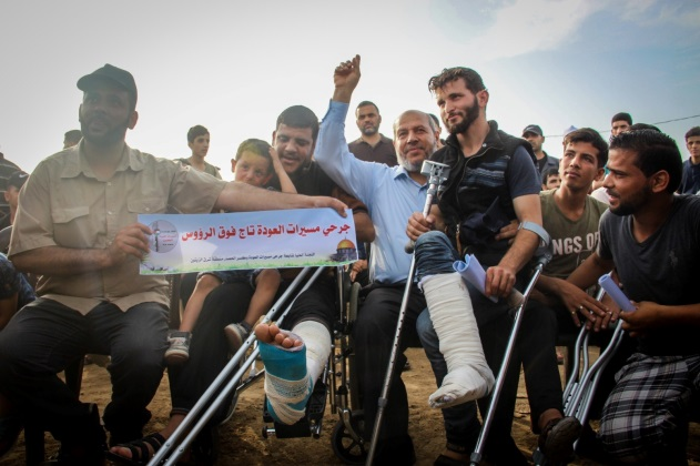 Senior Hamas figure Khalil al-Haya at an event for solidarity with Palestinians wounded in the return marches. The event was held at the return camp in eastern Gaza City (Supreme National Authority Facebook page, May 24, 2019).
