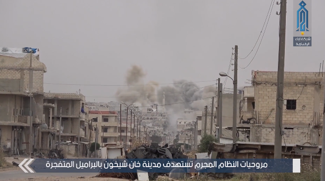 Barrel bomb hitting Khan Shaykhun (Ibaa, May 25, 2019)