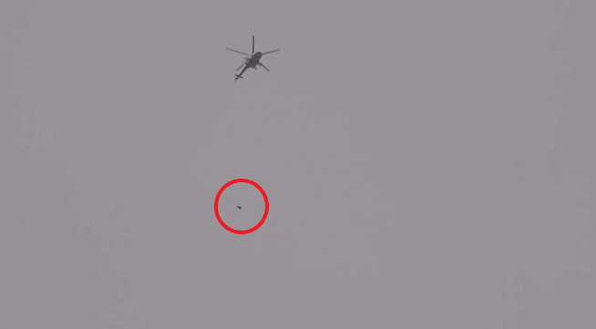 Barrel bomb dropped by a Syrian army helicopter on the town of Khan Shaykhun, north of Hama
