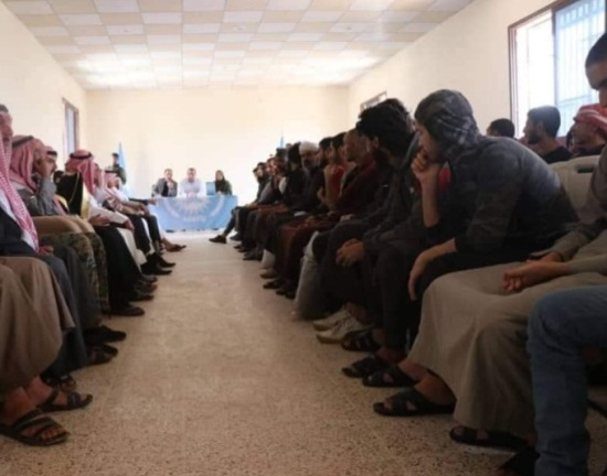 ISIS operatives released by the SDF forces in the village of Al-Kisra, north of Deir ez-Zor, with tribal dignitaries attending the ceremony (Deir ez-Zor 24, May 25, 2019)