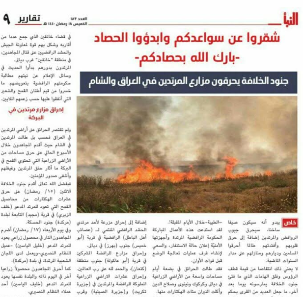 The article in the Al-Nabā' weekly calling for the burning of fields in Iraq and Syria (Telegram, May 23, 2018)