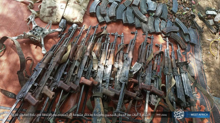 Weapons and a drone seized from the Nigerian army by operatives of ISIS's West Africa Province.