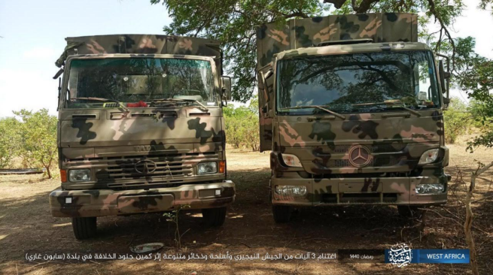 Two trucks seized by operatives of ISIS's West Africa Province (ISIS's West Africa Province, as posted on Telegram, May 27, 2019)
