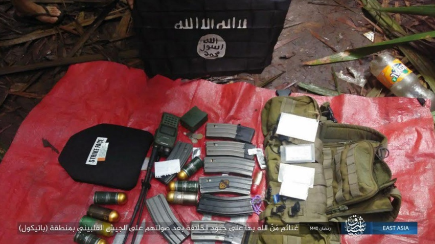 Ammunition and military equipment belonging to the Philippine army, seized by ISIS operatives in the area of Patikul in Jolo Island (Telegram, May 27, 2019)