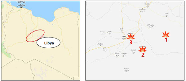 Right: The main sites of the fighting between ISIS and Haftar's Army militiamen in the past week: The Haruj Mountains (1); the town of Tamsa (2); the town of Samnu (3) (Google Maps). Left: The area where ISIS has been operating intensively for the past three months (Google Maps)