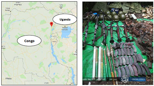 Right: Weapons and ammunition seized by ISIS operatives (Telegram, June 17, 2019). Left: The area where the attack took place, not far from the Congo-Uganda border (Google Maps).