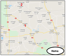 The area of Nabudah (2), where forces from the 4th Division, pulled from the Kabanah area, were transferred. South of it is Tal al-Malah (1), held by the rebel organizations (Google Maps)