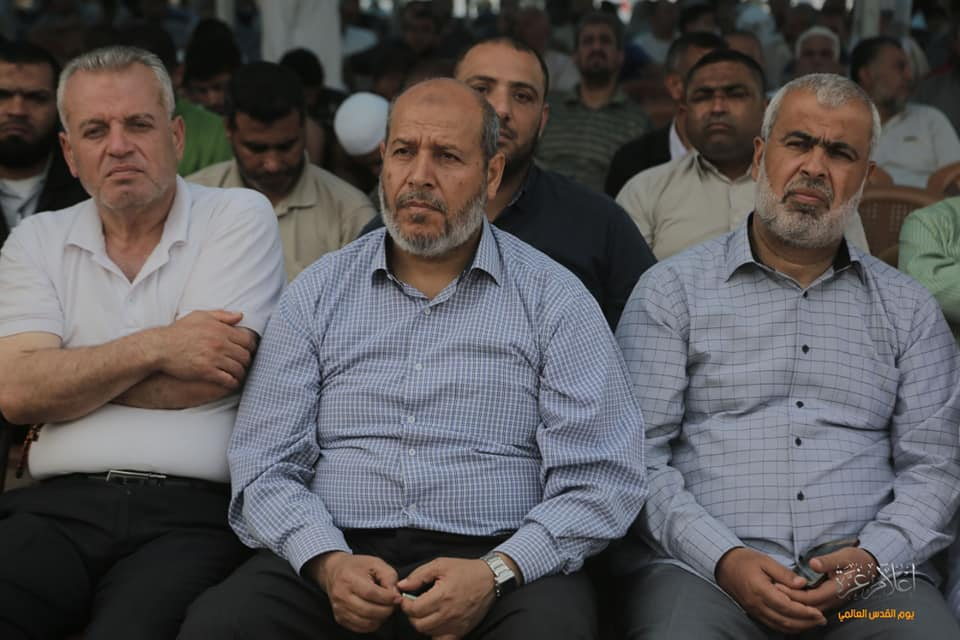 Khalil al-Haya at the return camp in eastern Gaza City (Supreme National Authority Facebook page, June 1, 2019).