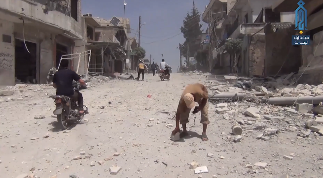 Buildings hit in central Ahsam, south of Idlib, following a Russian airstrike, according to a report by the Headquarters for the Liberation of Al-Sham (Ibaa, June 1, 2019)