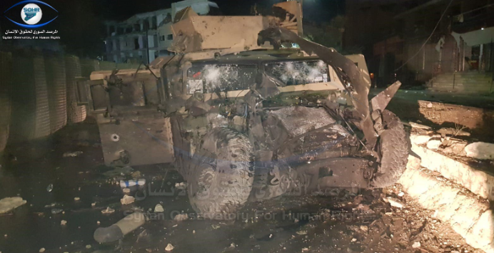 SDF vehicle hit by ISIS car bomb in the center of Al-Raqqah (Syrian Observatory for Human Rights, June 1, 2019)