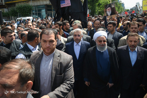 Iranian President Rouhani at the Jerusalem Day parade in Tehran (YJC.IR, May 31, 2019).