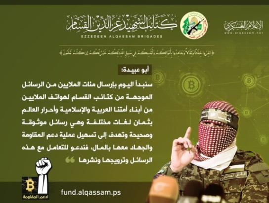 Abu Obeida's announcement on sending text messages to Arabs and Muslims to promote the donation process (Muqawama Press Twitter account, June 3, 2019)