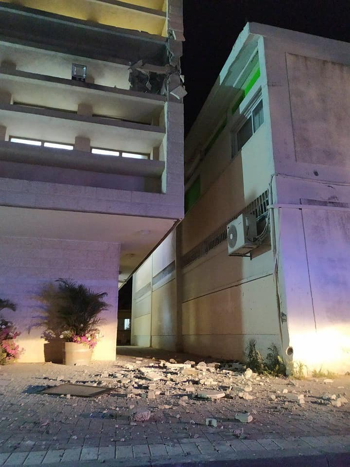 The damage done to the yeshiva building (Facebook page of the Afiki Dat Yeshiva in Sderot, June 13, 2019).