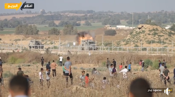 Palestinian rioters attack an IDF jeep with a locally-made hand grenade, east of al-Bureij (central Gaza Strip) (QudsN Facebook page, June 21, 2019; Twitter account of Mu'ataz Abu Rida, June 21, 2019).