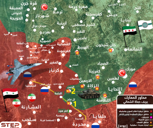 Tal al-Malah (1) and Jubain (2), targeted by the Syrian army counterattacks, which were repulsed by the rebel organizations. The area controlled by the rebel organizations is marked in green; the area controlled by the Syrian army and the forces supporting it is marked in red (based on a Khotwa map from June 18, 2019; the numbers were added by the ITIC)