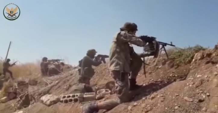 Operatives of the National Front for Liberation, a Turkish-affiliated rebel organization, firing at Syrian army soldiers during the attack against Tal al-Malah and Jubain (YouTube channel of the National Front for Liberation, June 20, 2019)