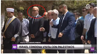 Fadi al-Hidmi, PA minister of Jerusalem affairs (red circle), accompanies the president of Chile on a visit to the Temple Mount (YouTube, June 27, 2019).