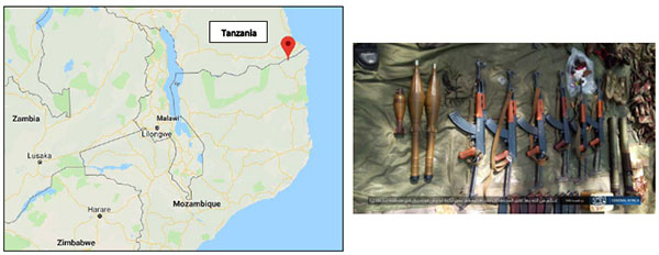 Right: Weapons and equipment seized by ISIS operatives in an attack on the Mozambican army base (ISIS's Central Africa Province, July 5, 2019). Left: The Nangade area in northern Mozambique, near the border with Tanzania, where the base was attacked (Google Maps)