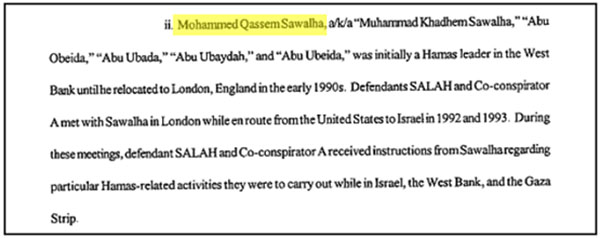 American indictment for Muhammad Saleh, Musa Abu Marzouq and Abd al-Hamid Ashqar.