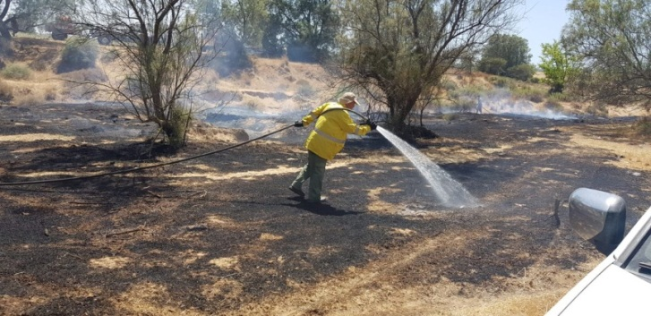 Putting out a fire near the Gaza Strip (Moshe Baruchi, JNF forester, June 27, 2019).
