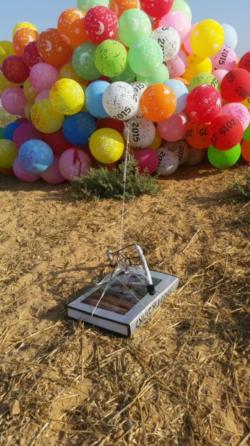 Balloon cluster attached to a booby-trapped book that landed in the western Negev (western Negev spokesman's unit, June 28, 2019).