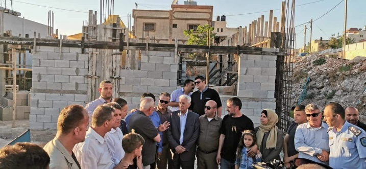 Visit to the site where a new house is being build for the Abu Layla family in the village of al-Zawiya (Abbas Zaki's Facebook page, July 1, 2019).