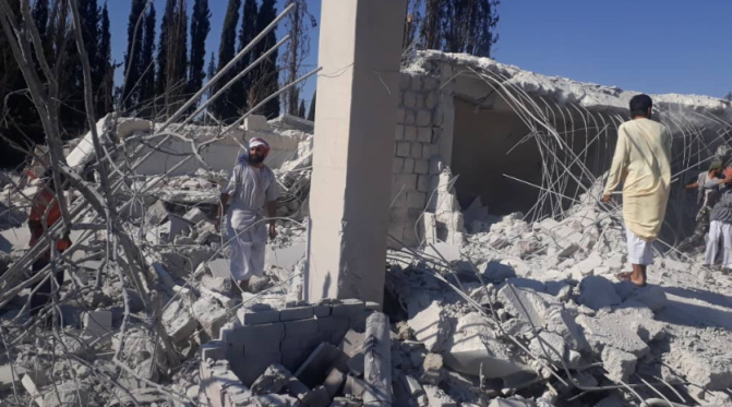 The ruins of the Guardians of Religion building, attacked in an American airstrike (Murasiloun, June 30 2019).