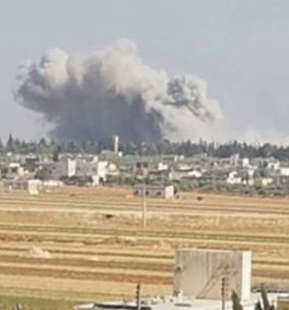 Smoke rising from the attack (qurtuba_love Twitter account, June 30, 2019).