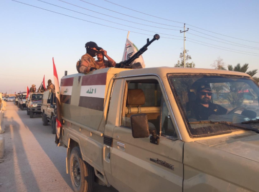 Popular Mobilization motorized force during a security activity against ISIS in western Al-Anbar Province (Twitter account of the Information Directorate of the Popular Mobilization Headquarters, June 30, 2019)