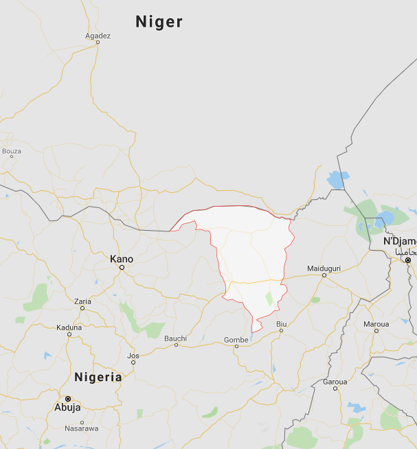 Yobe State, in northern Nigeria (Google Maps)