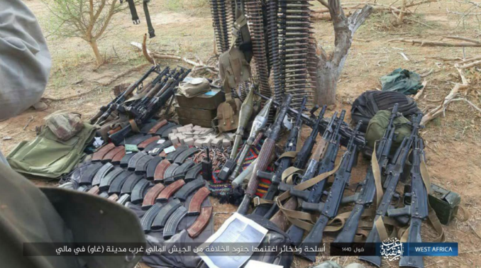 Weapons and ammunition seized by ISIS operatives in the attack on the Malian army (Nabras, June 28, 2019)