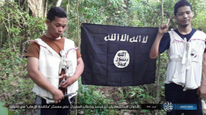 The two suicide bombers, codenamed Abu Muhammad and Khattab, who attacked the Philippine army's counterterrorism unit in Sulu (ISIS's East Asia Province, as posted on Telegram, June 28, 2019).
