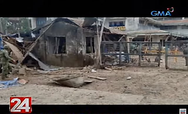 The entrance to the camp after the attack (Gamanews, July 1, 2019)