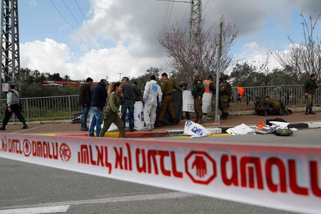 Scene of the attack near Ariel (Palinfo Twitter account, March 17, 2019).