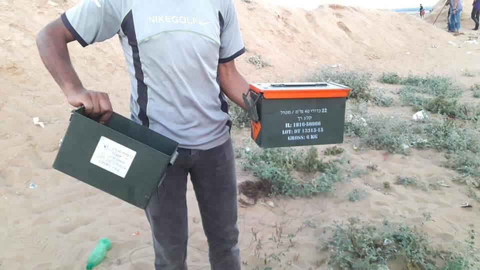 IDF equipment the Palestinians claim they took after they crossed the fence and reached an IDF post east of Khan Yunis (Mu'taz Abu Rida's Twitter account, July 5, 2019).