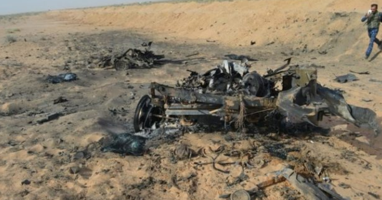 Wreckage of an ISIS car bomb which was destroyed by the Iraqi security forces in the Al-Jazeera area (al-hashed.net, July 7, 2019)