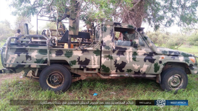 Vehicles seized by ISIS operatives in the town of Duskali in northeastern Nigeria (Telegram, July 6, 2019)