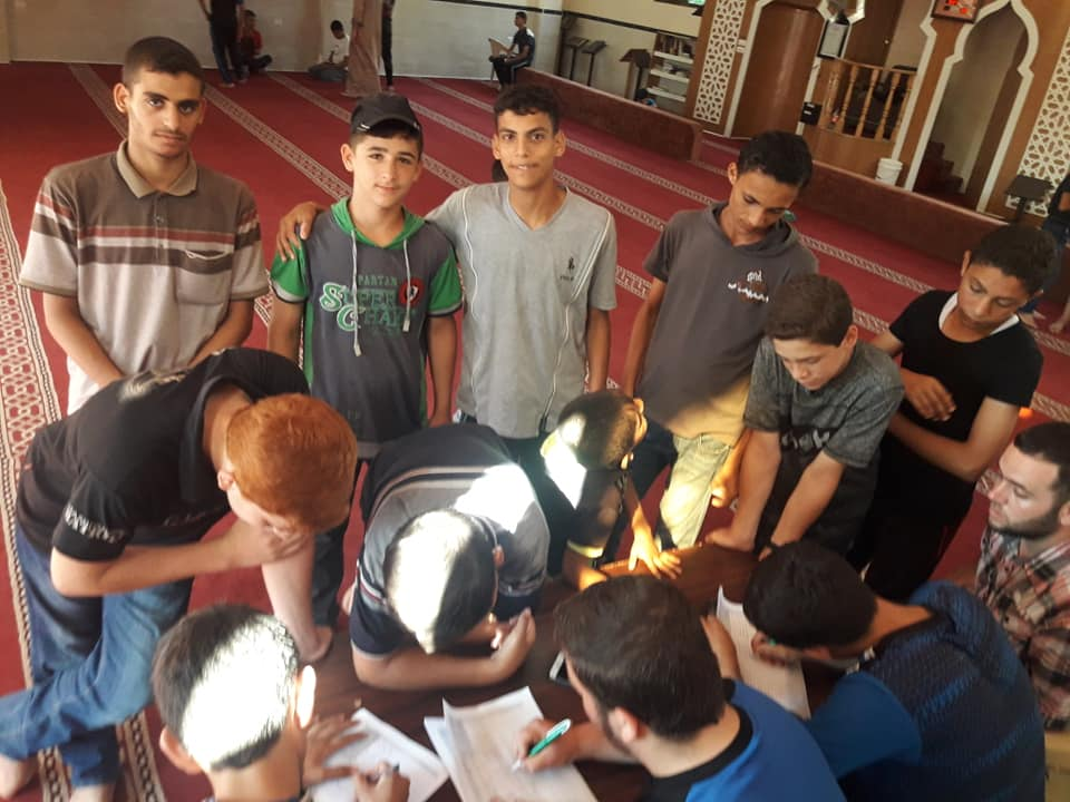 Registration for summer camps at the al-Ansar mosque in Jabalia (Facebook page of the al-Ansar mosque, July 15, 2019).