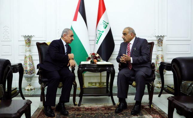 Muhammad Shtayyeh meets with the Iraqi prime minister (Wafa, July 15, 2019).