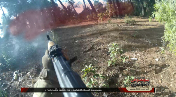 One the operatives of the operations room fires at Syrian army positions (Twitter, July 12, 2019)