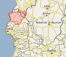Turkmen Mountain, north of Latakia (marked in red) (Wikimapia).