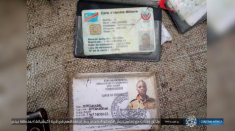 Documents seized belonging to Congolese soldiers attacked by ISIS in the area of Beni.