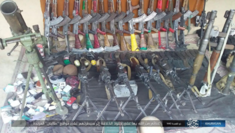 Weapons and ammunition seized by ISIS operatives in the attack on the Taliban force.